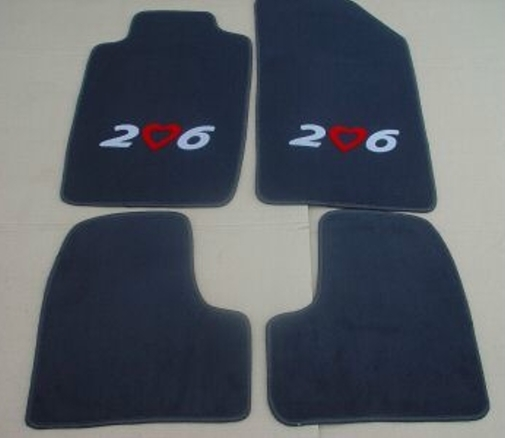 peugeot 206 tapis de sol en moquette noir blanc rouge ebay. Black Bedroom Furniture Sets. Home Design Ideas